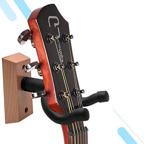 Wall Mount Guitar Hanger with Wooden Wood Base for Display Bracket Hook Holder Hanging for Electric and Acoustic Guitars,Banjo, Ukulele, Violin, Bass and more