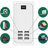 Thread_de 6-Port USB-Ladegerät, 30W USB-Desktop-Multifunktions-Quick-Ladegerät AC-Netzteil EU für iPhone, iPad, Samsung Galaxy, Nexus, HTC, Motorola, LG, etc. 6-port USB charger (6 USB-Anschlüsse)