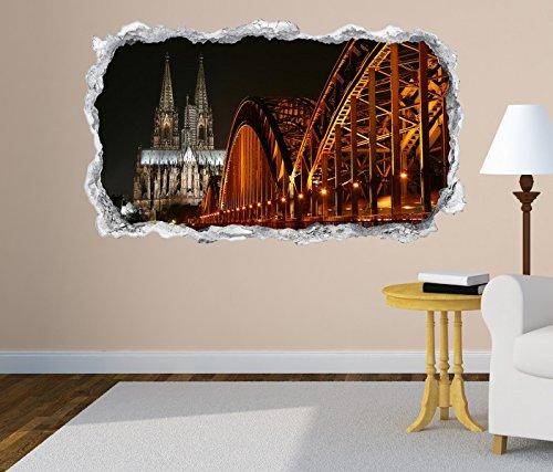 3D Wandtattoo Skyline Köln Brücke Kölner Dom Stadt Wand Aufkleber Durchbruch Stein selbstklebend Wandbild Wandsticker 11N645