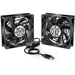 ELUTENG Ventilatore USB 80mm 5V USB Silencieux Fan raffreddamento PC Ventole 2700RPM 32CFM Mini ventilatore Con Griglie Metalliche per TV Box/Router / PS4 / Xbox/Playstation, Noir
