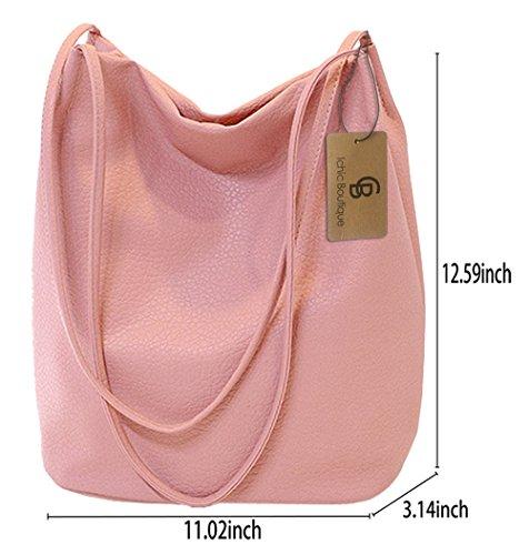 2ea21fc90aa66 Eimer Tasche Damen Handtasche Leder Schultertasche Umhängetaschen Beutel  Pink