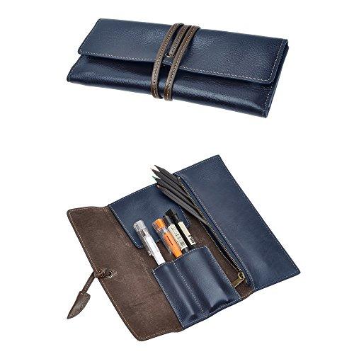ZLYC handgefertigt Soft Roll Stift Fall Bleistift Halter Wrap Tasche aus Leder Stationery Geschenk für Studenten blau (Handgefertigtes Leder-rucksäcke)