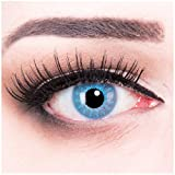 MeralenS ein Paar bunte blaue Jahres Motivlinsen. Kontaktlinsen Solar Blue mit gratis Linsenbehälter. Perfekt zu Fasching, Karneval und Halloween Cosplay.