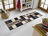 Sehr hochwertiger Küchenläufer Größe ca. 60 x 180 cm / Küchenmatte braun und beige / Dekoläufer für Küche und Bar braun und beige / Teppich Läufer Küche braun und beige / waschbare Küchenläufer braun und beige / Küchendeko Modell ,,COOKING & WASH kitchen Brown