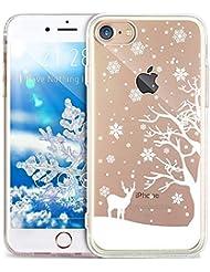 iPhone 8 Hülle,iPhone 7 Hülle,ikasus Durchsichtig mit Xmas Christmas Snowflake Weißen Weihnachten Schneeflocke Hirsch Muster Klar TPU Silikon Handyhülle Schutzhülle,WeißenSchneeflockeHirsch