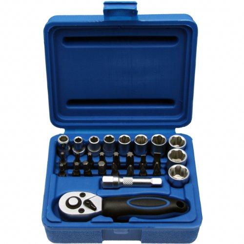 """Kleine Steckschlüsselsatz MINI Knarrenkasten Nusskasten Schraubenschlüssel Bit/Bitsätze 1/4\""""-Antrieb - Chrom-Vanadium-Stahl - 28-tlg"""
