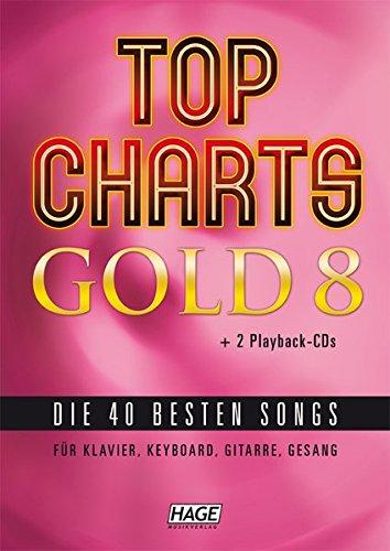Top Charts Gold 8 (mit 2 CDs): Die 40 besten Songs für Klavier, Keyboard, Gitarre und Gesang (Tabelle Gold)
