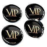 Skino 4 x 60mm Coprimozzi Copricerchi Tappi Ruote VIP con 3D Gel Adesivi Resinati Stickers Auto Logo Silicone Autoadesivo Stemma Adesivo C 50