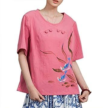 100% Fait Main Tunique Caftan Blouse Chemise Femme Chinoise Coton Lin Peint #111
