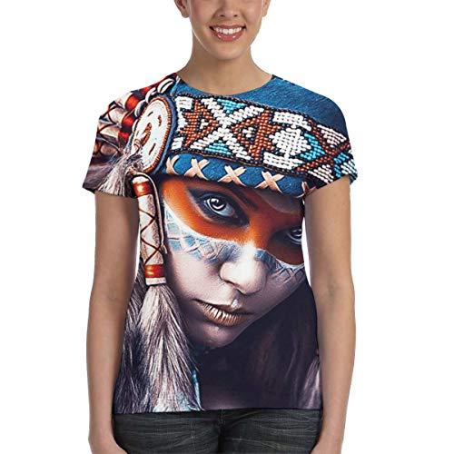 U are Friends Native American Girl Tattoo Design Frauen Kurzarm T-Shirt Tees Sport Sommer(M,Schwarz) -