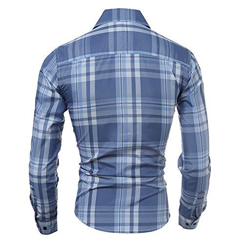 Juleya Uomo Casual Shirt - Uomo Cotone Camicia Shirt Plaid Camicia Slim Fit Manica Adatta Per Primavera Autunno Inverno XS-L Azzurro