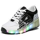 Unisex Bambini LED Skateboard Scarpe Singola Doppio Rotelle LED Luci Lampeggiante Sneaker All'aperto Sportive Pattino A Rotelle Scarpe con Regolabili Rotelle (Bianco Nero,35 EU)