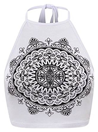 Fashion charming-Womens Celebrity Mandala tribale Stampa Halter Neck Top White