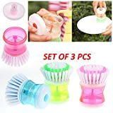 #10: Lukzer Plastic Cleaning Brush (Set of 3 Pcs) with Liquid Soap Dispenser, Self Dispensing Cleaning Brush for floors,Kitchen,Laundry and other Household Chores.