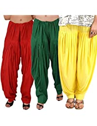 ROOLIUMS ® (Brand Factory Outlet) Punjabi Patiala Salwar Combo 3 - Free Size (Red, Dark Green, Yellow)