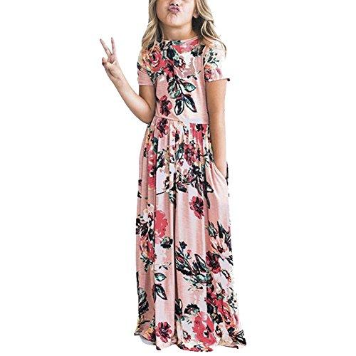 FeelinGirl Mädchen Kinder Blumen Maxikleid Bohemien A-Linie Lang Kleider Sommerkleid Partykleid
