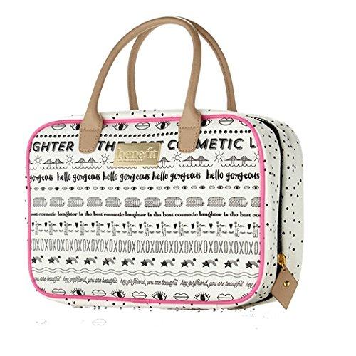 Benefit Weekender Tasche für Unterwegs kleine Tasche für eine Übernachtung Grösse: Large Farbe: Schwarz / Creme/ Pink Aufschrift: Carry...