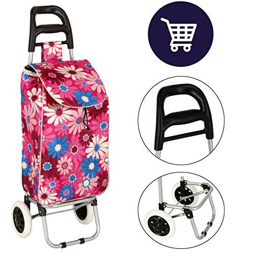 Postergaleria Einkauftasche auf Rollen, Klappwagen 96 cm Einkaufstrolley klappbar (rosa mit Blumen)