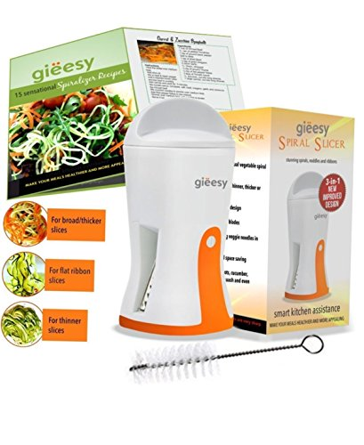 (Perfect Gift Item!)Best-3-in-1 Portable Handheld Gieesy Vegetable Spiralizer with Recipe Booklet & Cleaning Brush Included in the Box. 100% Lifetime Guarantee!