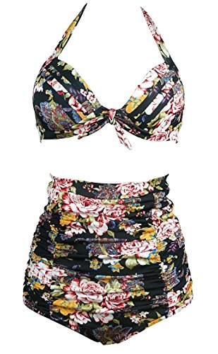Gigileer Femme Vintage Bikini Maillot De Bain 2 Pièces Taille Haute Fleur