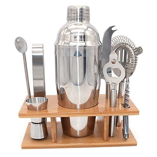 Dollatek 9pcs kit bar per barman in acciaio inox cocktail shaker martini con supporto organizer e accessori con supporto in legno - 750 (ml) / 25,3 (oz)