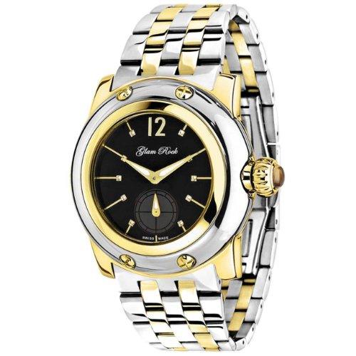 Glam Rock Women's Palm Beach 40mm Two Tone Steel Bracelet Gold Plated Case Swiss Quartz Watch GR40026