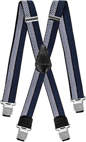 Silber Kid Leder (Decalen Hosenträger für Herren breit extra starken 4 cm mit 4er Clips X-Form Lange für Männer und Damen Hose (Silber Schwarz Blau))