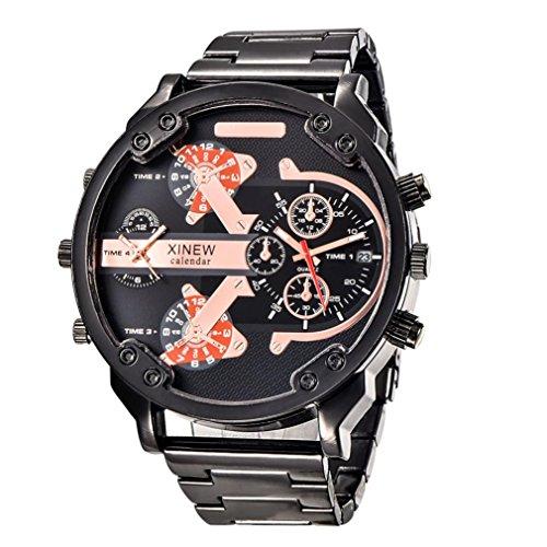 OverDose Herren Luxus Uhr Edelstahl Sport analoge Quarz Armbanduhr uhren (Schwarz 1 )