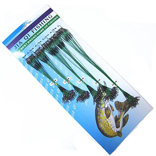 Hrph 100 pcs Fishing Trace Lures Leader Steel Wire Spinner 13/15/18/20/25cm Green Test