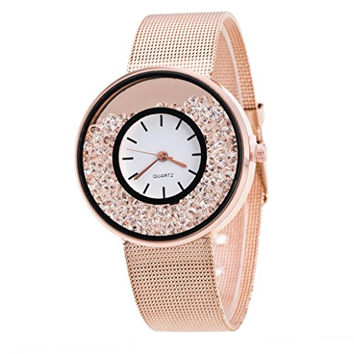 Ouneed Uhren , Mode Damen Lover Quarz Analog Glitzer Bling Diamond Handgelenk Delicate Legierung Uhr Luxus Business Uhren (Roségold)