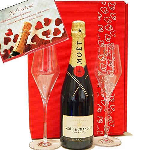 Moet & Chandon Geschenk-Set Hochzeit mit zwei Champagnergläsern und passender Grußkarte Champagner-set