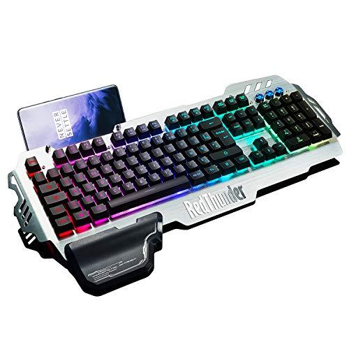 RedThunder K900 Clavier Semi-mécanique, AZERTY FRANÇAIS, Tout Métallique USB Ergonomique RGB...