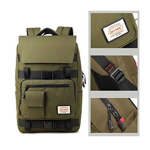 FEEHAN Vintage Canvas Backpack Travel Hiking Rucksack Laptop Bag,Business School Studenten Umhängetasche wasserdichte 16-Zoll-Laptoprucksack der Männer Reisetasche Abdeckungsart Tasche grün