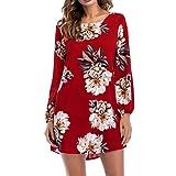Damen Kleider Langarm Printkleid Blumenkleid Druckkleider Elegant Abendkleid Rockabilly Casual Basic A-Linie Kleider Rundhalsshirts Freizeitkleid Blusenkleid (Red, L)