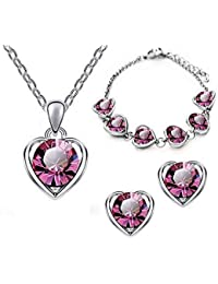 Ruvee Heart Of The Ocean Pink Necklace Set For Women & Girls For Parties & Weddings