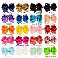 """20 stuks baby meisjes haarboog haarbanden elastische hoofdbanden met 6"""" haarboog voor kleine kinderen pasgeborenen"""