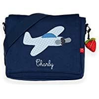 Kindergartentasche & Kindergartenrucksack in einem: Flugzeug für Jungen (mit Namen) in blau
