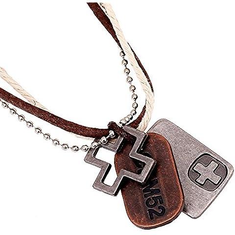 Victoria Echo Punk Estilo Placa de metal y piel de colgante en forma de cruz cadena de bolas cadena gargantilla collar
