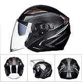 LQ-Helmet Helm-Motorrad-Mopedhelm Halbhelme mit Abnehmbarer Brille und Innenfutter Motorrollerhelm für Damen