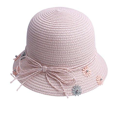 Kids Girls Elegant ChurchParty Picnic Beach Wide Brim Straw Bucket Sun Hat Cap
