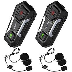 SUAOKI Intercom Moto Bluetooth T10【2019 Nouvelle Génération】2PCS Casque Kit Moto Jusqu'à 3 Cavaliers de Communication Main libre Ecouteur Avec 2 Paires de Micros Pour Moto/Vélo/VTT/Voiture (Double)