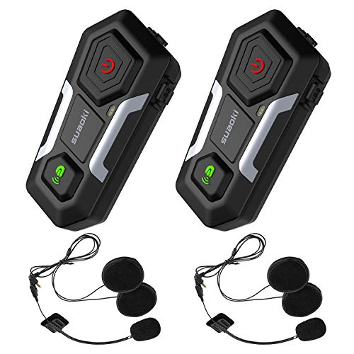 Motorrad Kommunikation System, SUAOKI Motorrad Intercom Helm Headset Gegensprechanlage Bluetooth 3.0 bis zu 3 Reiters, mit 1200m, GPS, FM Radio, MP3 Player (2er Set)