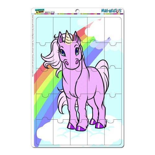 Einhorn pink mit Regenbogen und Wolken Mag-Neato 's-TM) Neuheit Geschenk Locker Kühlschrank Vinyl Puzzle Magnet Set