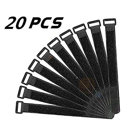 20X milopon chiusura velcro cinghie in Velcro klettgurte multiuso velcro cinghie riutilizzabile NERO 30x 2.5cm