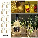 Etmury SGN8-1 20 LED Flaschen Licht mit Kork 2M Kupferdraht Lichterketten für Flasche DIY Dekor, Weihnachten, Party, Hochzeit, Urlaub [10 Stück] Warmesweiß