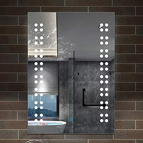 AicaSanitär LED Spiegel 50×70 cm Touch, Beschlagfrei, Wandspiegel Kaltweiß EIS Serie