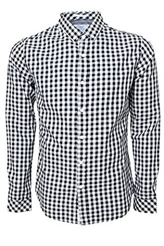 Crosshatch Mens Collared Long Sleeved Check Shirt, Black, Small