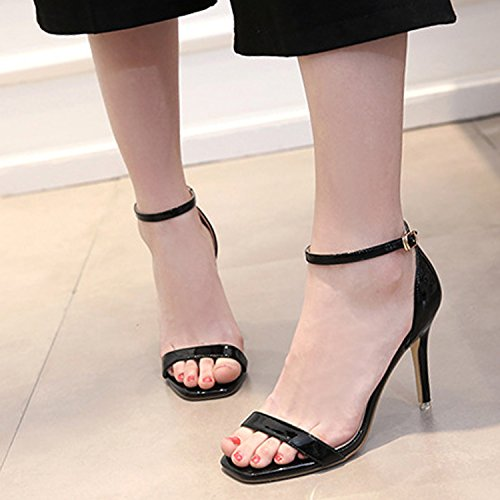 Oasap Women's Fashion Open Toe Ankle Strap High Stiletto Sandals Apricot