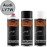 TRISTARcolor Autolack Spraydosen Set für Kunststoff Stoßstange Audi LY7W Silbersee Metallic/Argent Metallic Haftgrund Basislack Klarlack mit Weichmacher Sprühdose