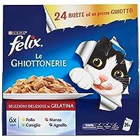 Purina Felix le Ghiottonerie Umido Gatto con Manzo, con Pollo, con Coniglio e con Agnello, 24 buste da 100 g Ciascuna, Confezione da 24 x 100 g